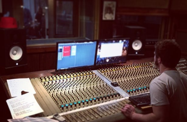 The mixing desk at the recording studio