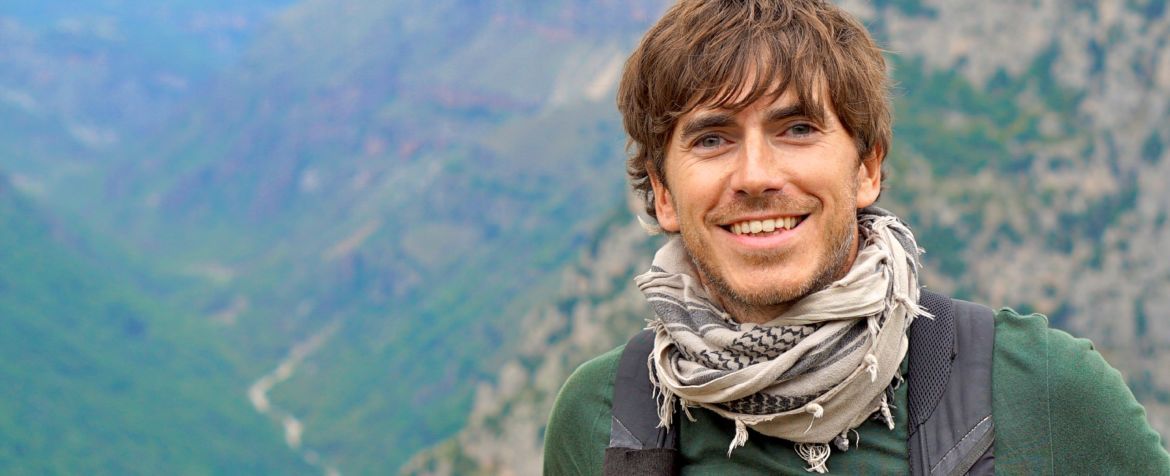 Programme Name: Greece With Simon Reeve - TX: n/a - Episode: n/a (No. 2) - Picture Shows: at the Vikos Gorge, the deepest gorge in the world.  Simon Reeve - (C) BBC - Photographer: Olly Bootle