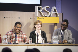 Roy Williams, Rosemary Jenkinson and Kwame Kwei-Armah. Nations on the World Stage. Credit Helen Maybanks_