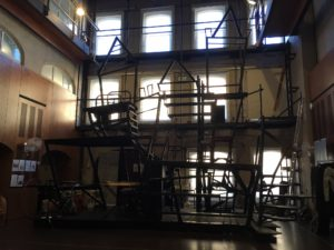 An outline of the set in the rehearsal room